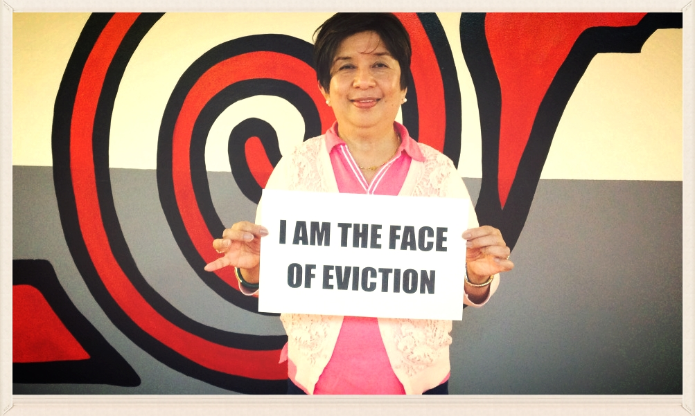 Suzette Ancheta, from the Faces of Eviction movement #facesofeviction2015