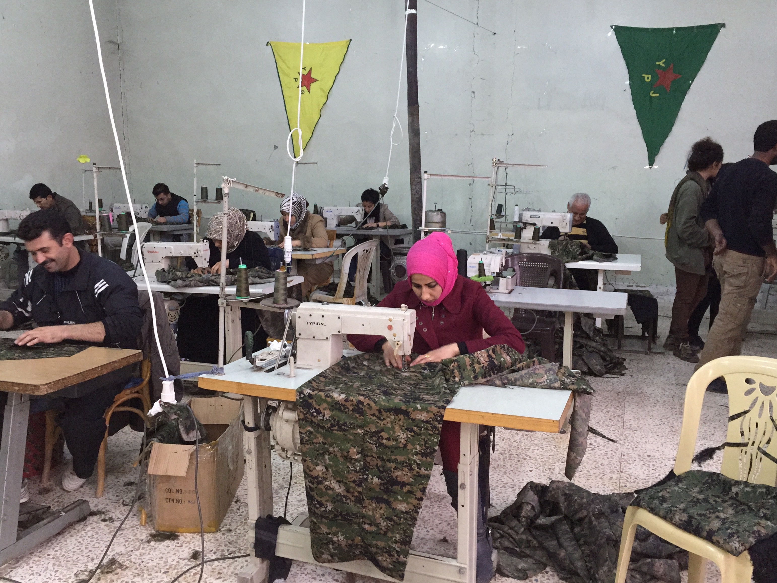 Members of a sewing cooperative in Rojava (Janet Biehl/Wikipedia)