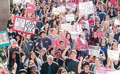 University of California, Santa Barbara students and supporters turn out for the first Million Student March. (Photo: Mathew Burciaga / The Bottom Line)