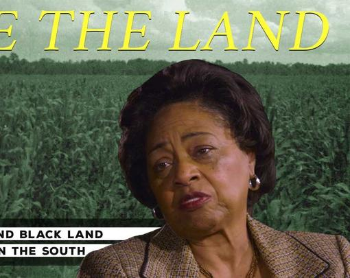"A pictue of Shirley Sherrod superimposed on a rural field with the words ""Free the Land"" above"
