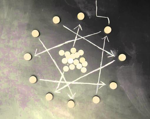 Money laid out on a chalkboard with arrows drawn around the coins.