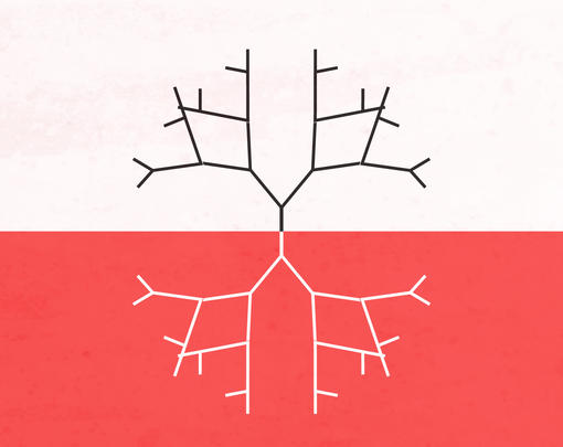 Four fractal trees creep out from the center of the screen. A horizontal line runs across the screen, white on top, red on the bottom.
