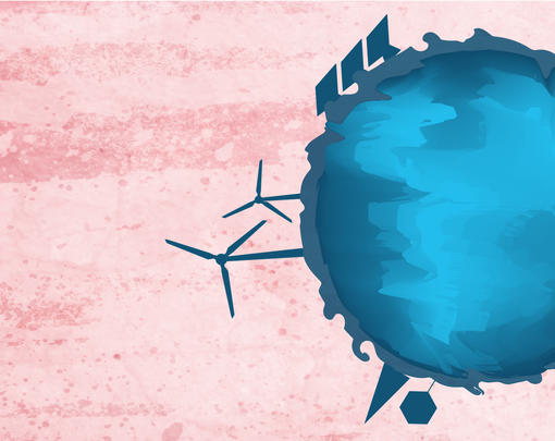 A blue globe with solar panels and windmills and forests on its edges floats in a pink sky
