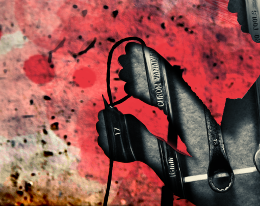 A silhouette of person cutting wires frames an image of a set of wrenches. The background appears to be a damaged industrial setting, a concrete wall with pink splotches.