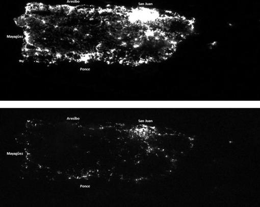 Two satellite photos taken at night of the island of Puerto Rico—one before and one after Hurricane Maria, showing the extent of the damage to the grid.