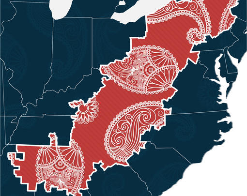 a map of the united states is colored in blue, excepting the counties of appalachia which are colored red with a paisley pattern