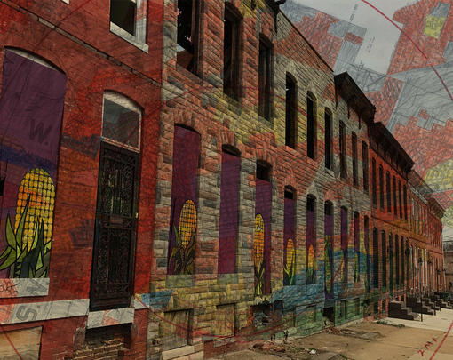 A HOLC redlining map superimposed on a row of vacant houses
