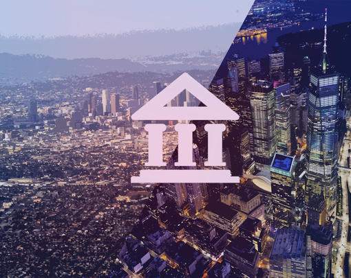 Overhead views of New York and LA with a bank icon superimposed across them
