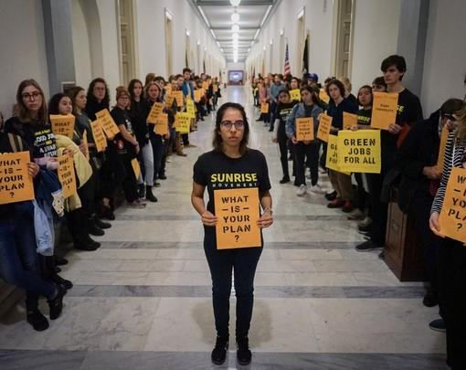 Sunrise Movement Green New Deal demonstration Congress