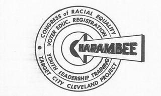 A graphic showing various Cleveland projects of CORE—voter education and registration, youth leadership training, and the target city Cleveland project as a bullseye target with Harambee as the arrow