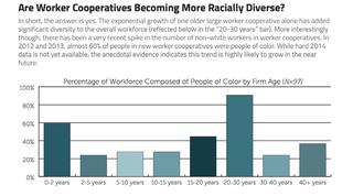 A chart showing the racial/ethnic diversity of worker coops in the US