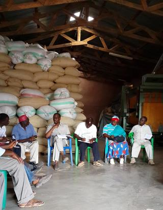 Leaders of the coffee producer and marketing cooperative RUMAKU in their executive committee meeting briefing MP Zitto Kabwe of the then Kigoma North constituency. The cooperative is one of the 13 primary cooperative societies producing more than 5000 metric tons of coffee in Kigoma region.