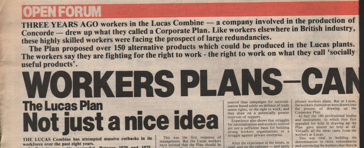 A socialist newspaper article on the Lucas Plan