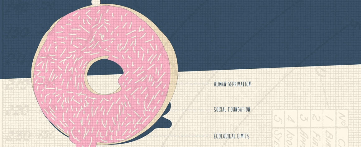 A delicious donut with pink frosting is used to depict the basics of Kate Raworth's 'Doughnut Economics' model.
