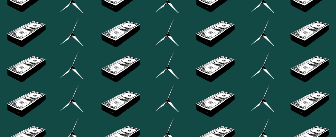 wind turbines and stacks of cash are displayed over a dark, forest green background