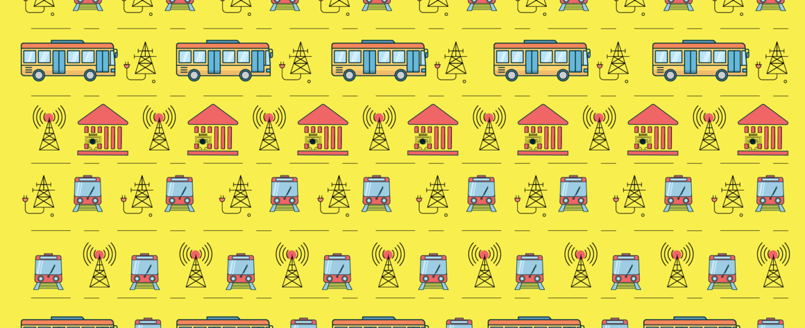 Over a yellow background icons representing buses, trains, radio towers, and utility towers form interlocking patterns