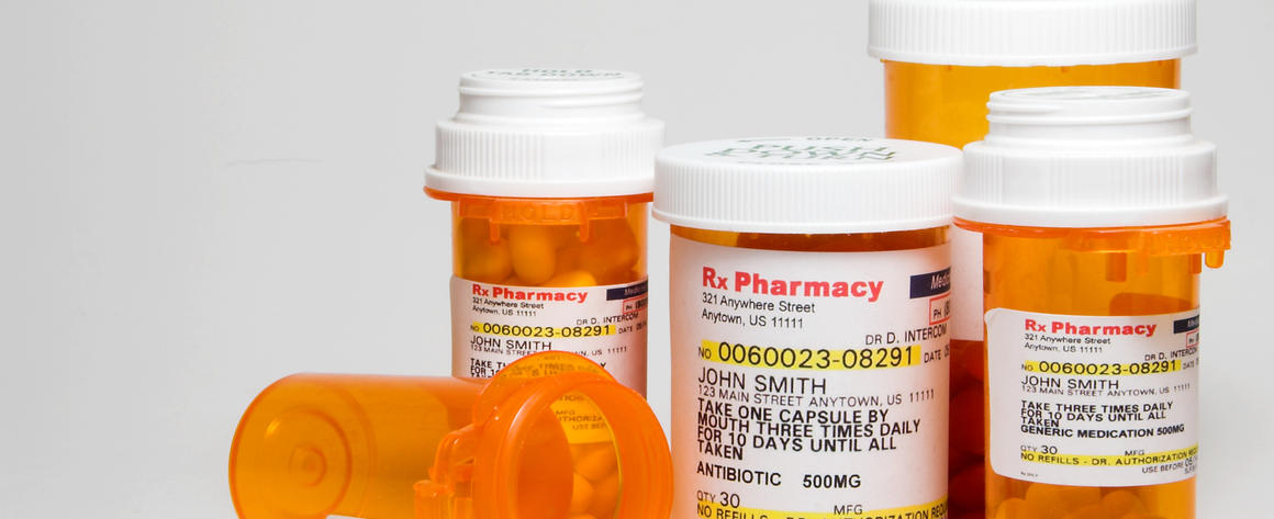 Containers of prescription medication